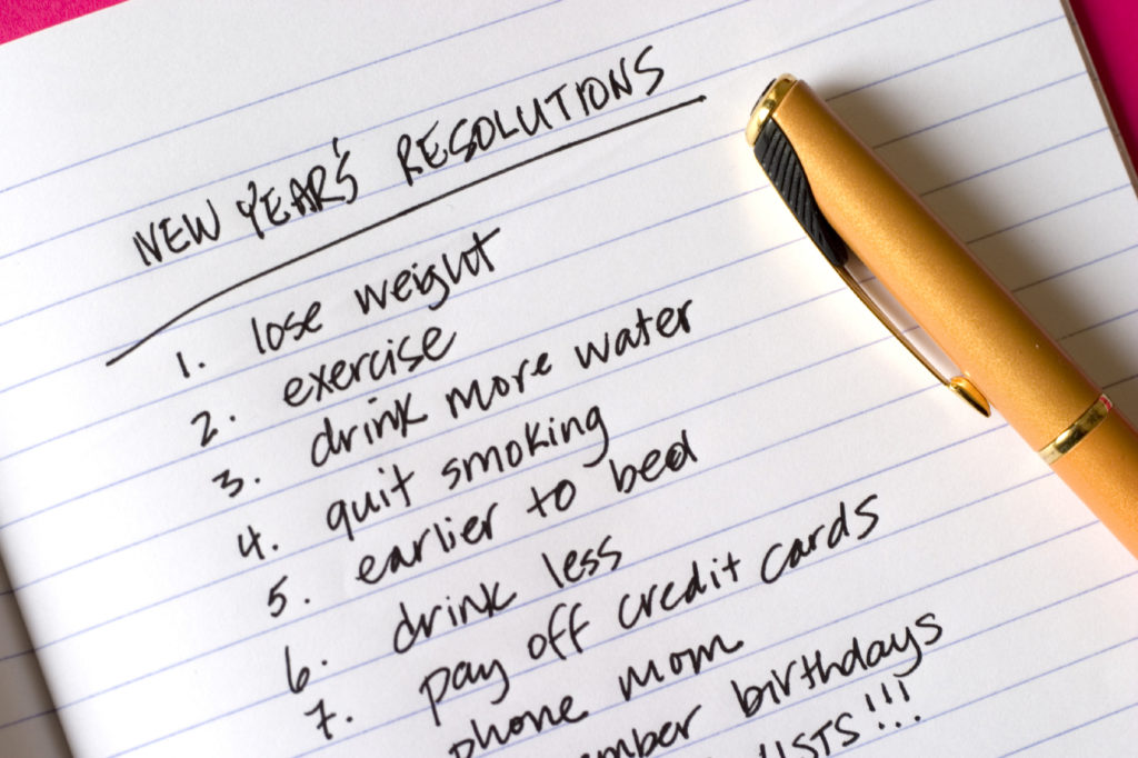 New Year's Resolutions, list of items